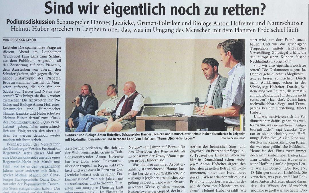 """Günzburger Zeitung zur ersten Ausgabe von """"Quo vadis – Leben?"""" am 08.10.2018"""